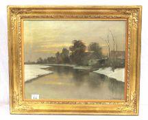 Gemälde ÖL/LW 'Flußlauf im Winter', signiert Steinbrecht, Alexander, Landschaftsmaler und