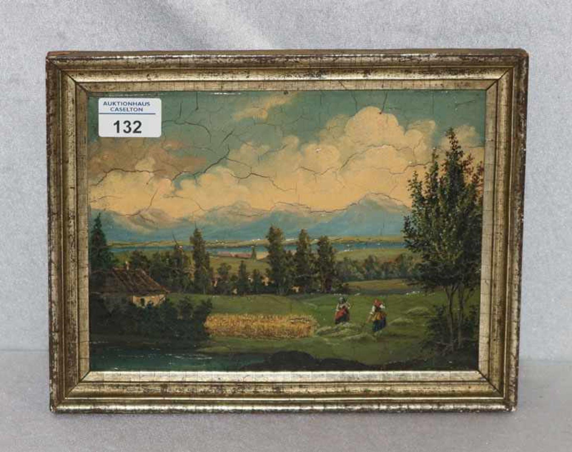 Los 132 - Gemälde ÖL/Holz 'Bäuerinnen bei der Heuernte vorm Tegernsee', Bild mit Kraquelee, gerahmt, Rahmen