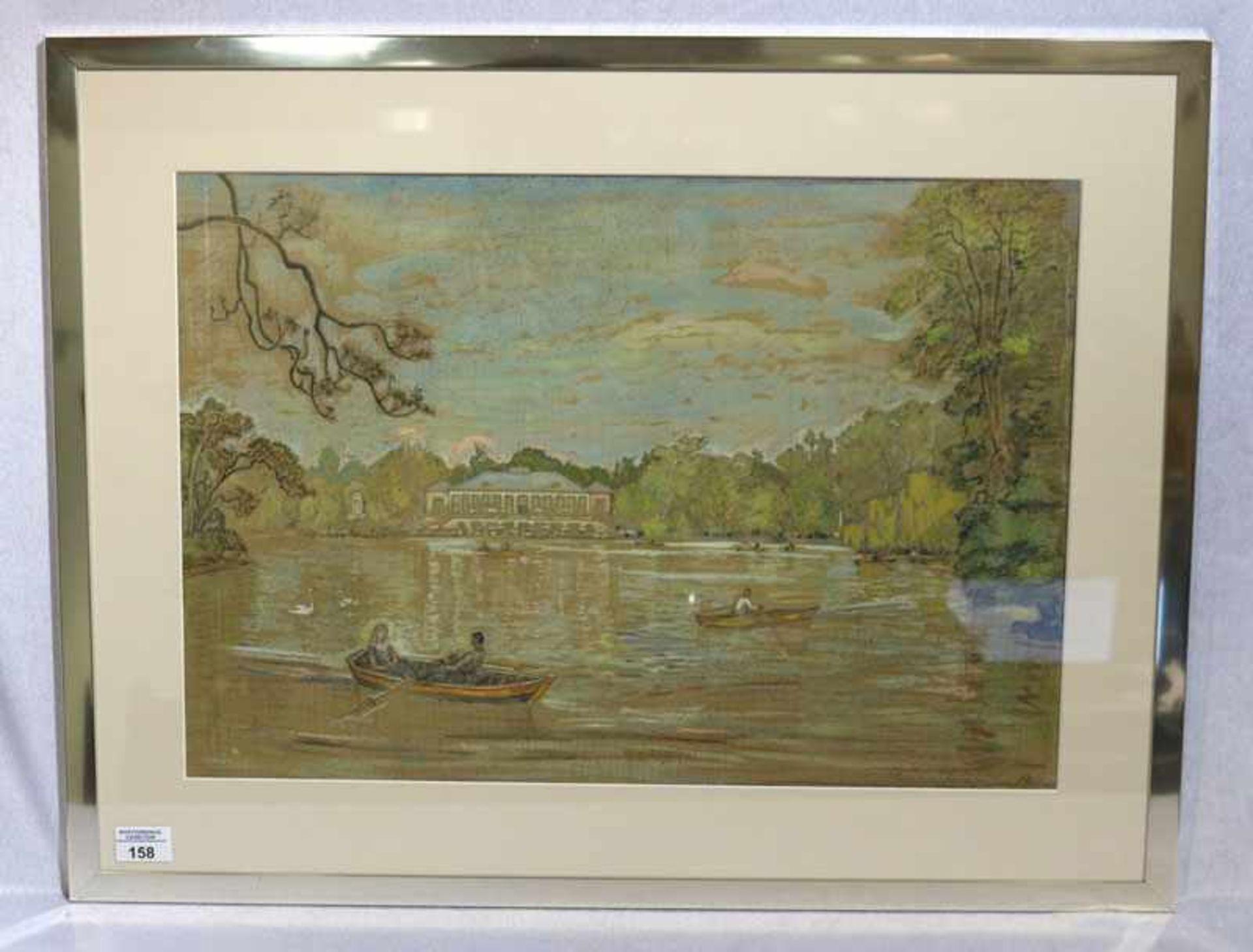 Los 158 - Gemälde Gouache, 'Seehaus am Kleinhesseloher See in München', deutscher Maler, * 1887 Waldeburg +