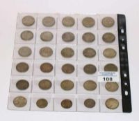 16 Silbermünzen Hindenburg 2 Mark und 14 Silbermünzen Kaiserreich 1 Mark, zus. 150 gr. Feinsilber