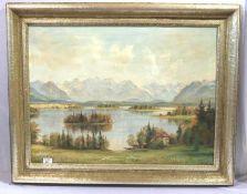 Gemälde ÖL/LW 'Staffelsee vor Gebirgs-Szenerie', signiert J. Brandl, Uffing, benötigt Reinigung,