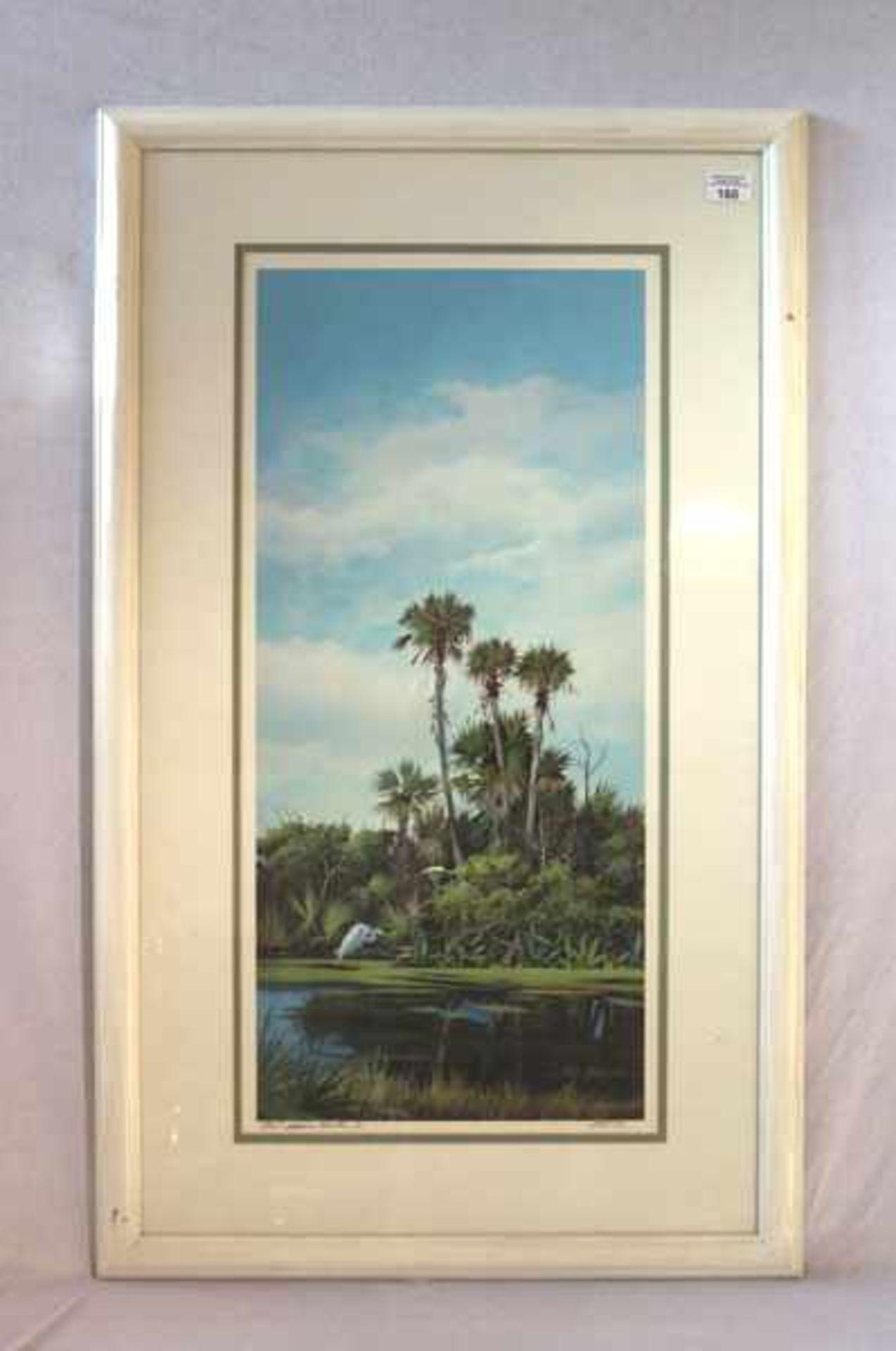 Los 160 - Druck 'Palmeninsel' mit Passepartout unter Glas gerahmt, Rahmen bestossen, incl. Rahmen 99 cm x 59