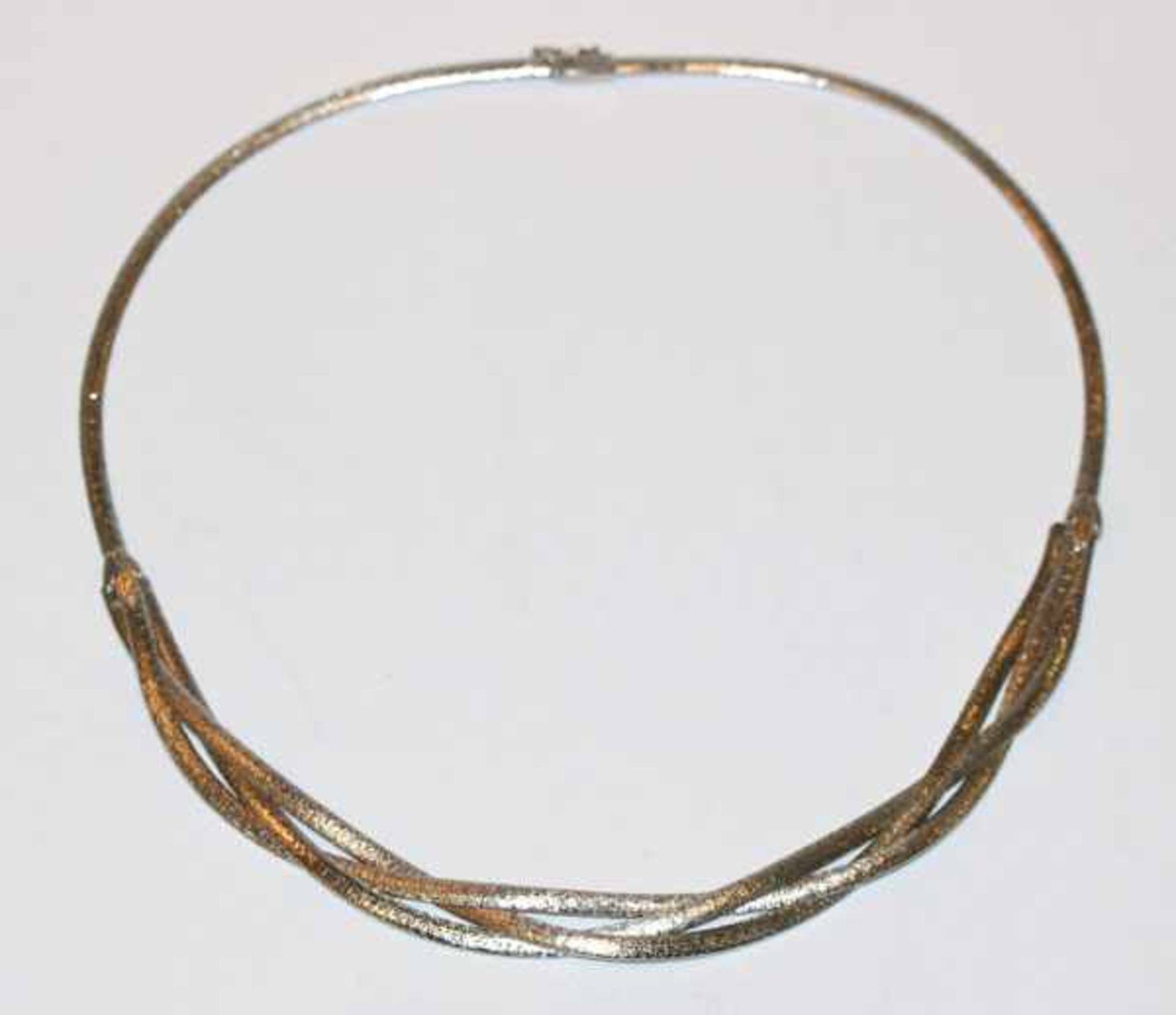 Los 63 - Silber Collier, mattiert und rhodiniert, L ca. 40 cm