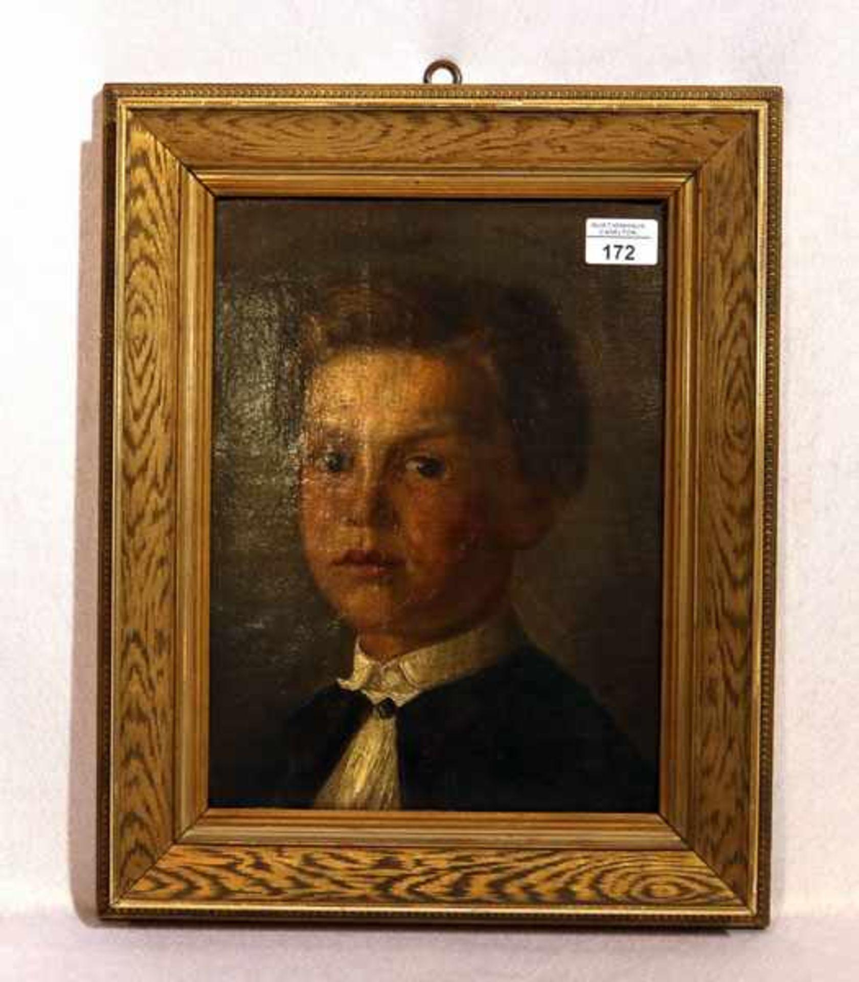 Los 172 - Gemälde ÖL/Malkarton 'Jungenbildnis', rückseitig beschrieben, gerahmt, Rahmen bestossen, incl.