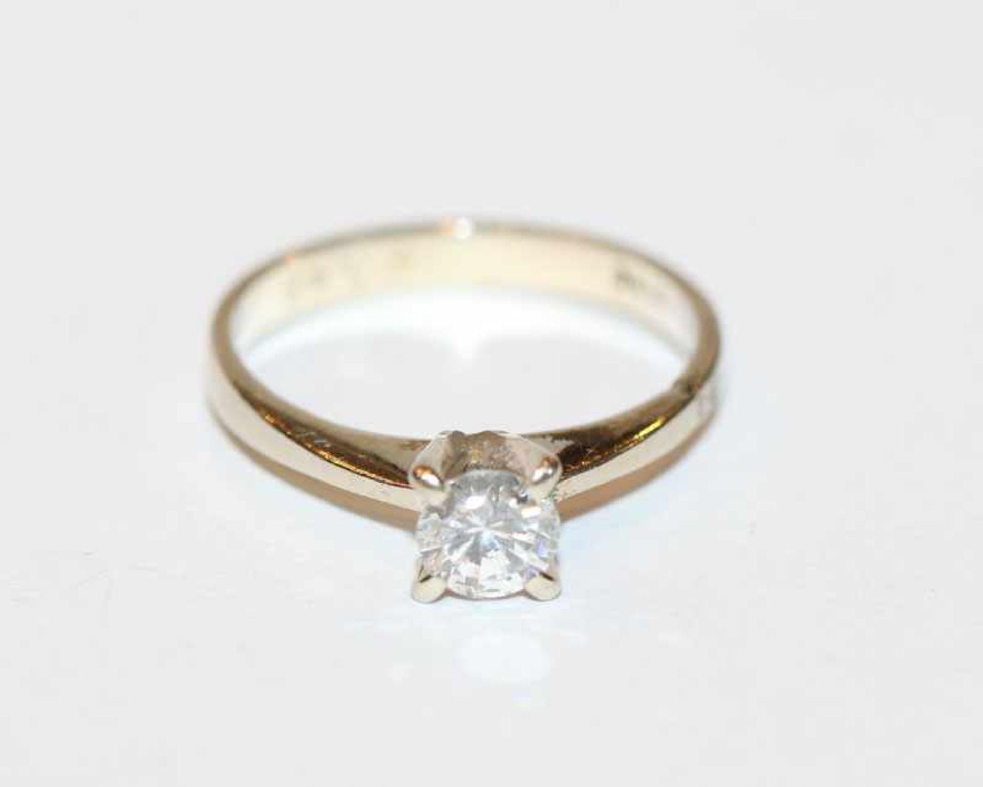 Los 13 - 14 k Weißgold Solitärring mit 0,48 ct. Diamant si/Pique weiss, Gr. 53