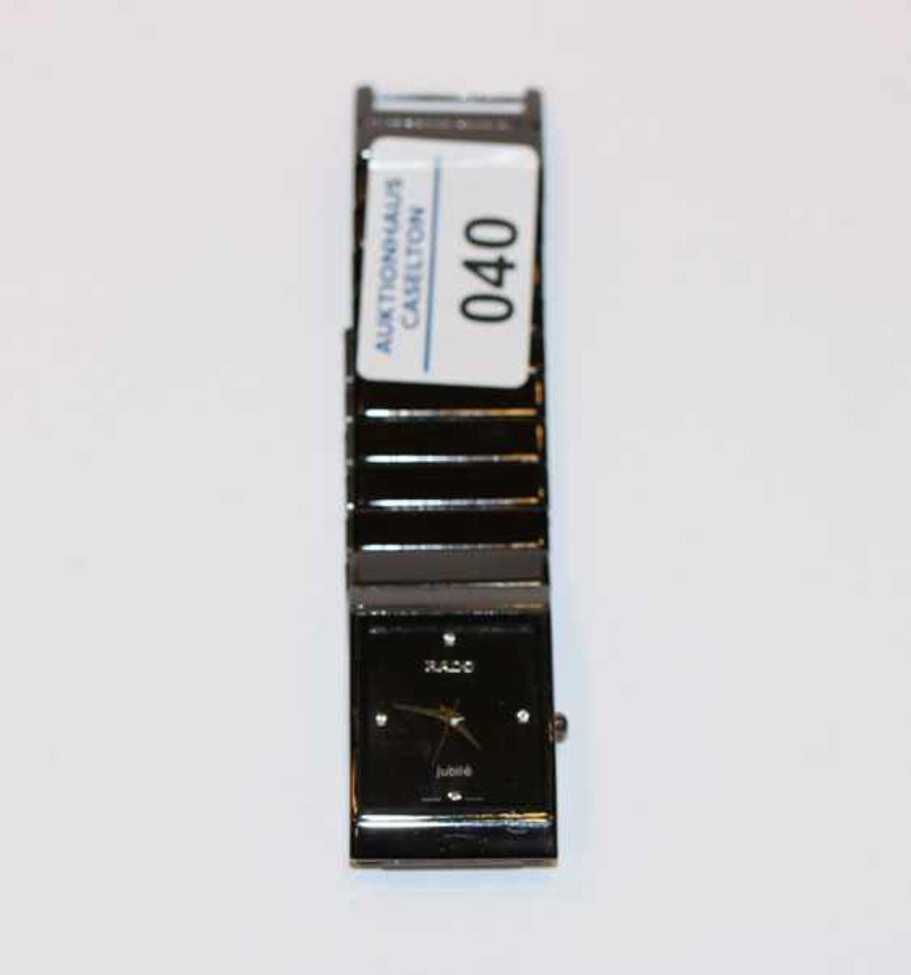 Los 40 - Rado Damen-Armbanduhr, schwarz, benötigt neue Batterie, intakt ?, starke Tragespuren