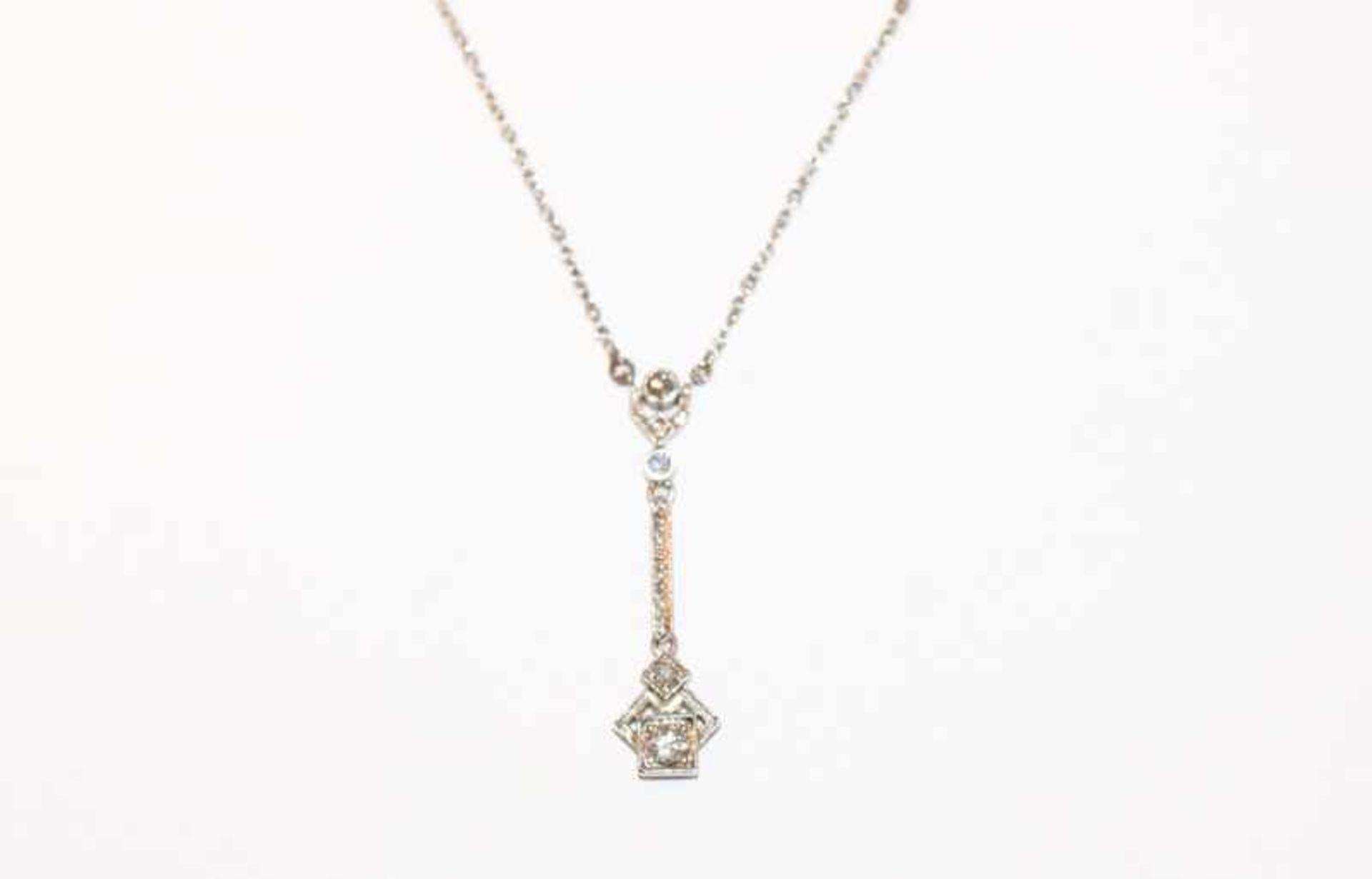 Los 22 - 14 k Weißgold Collierkette mit Diamanten, L 45 cm, feine Handarbeit