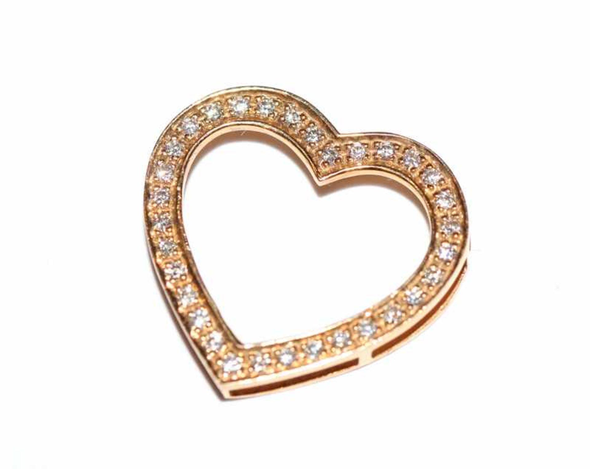 Los 51 - 14 k Roségold Herz-Einhänger mit 32 Diamanten, H 2 cm