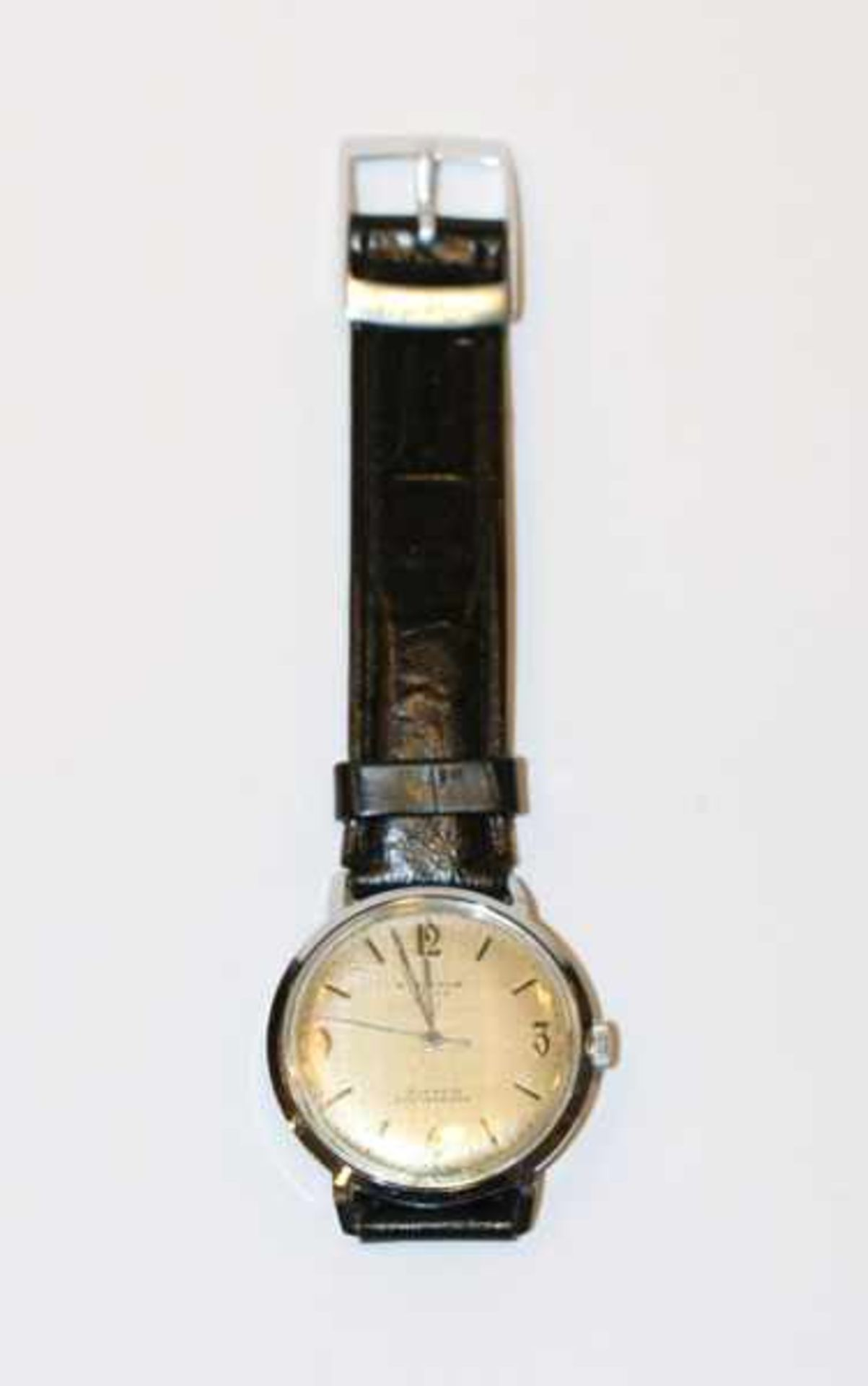 Los 60 - Kienzle Armbanduhr um 1965, intakt, Tragespuren, an neuwertigem, schwarzen Lederarmband