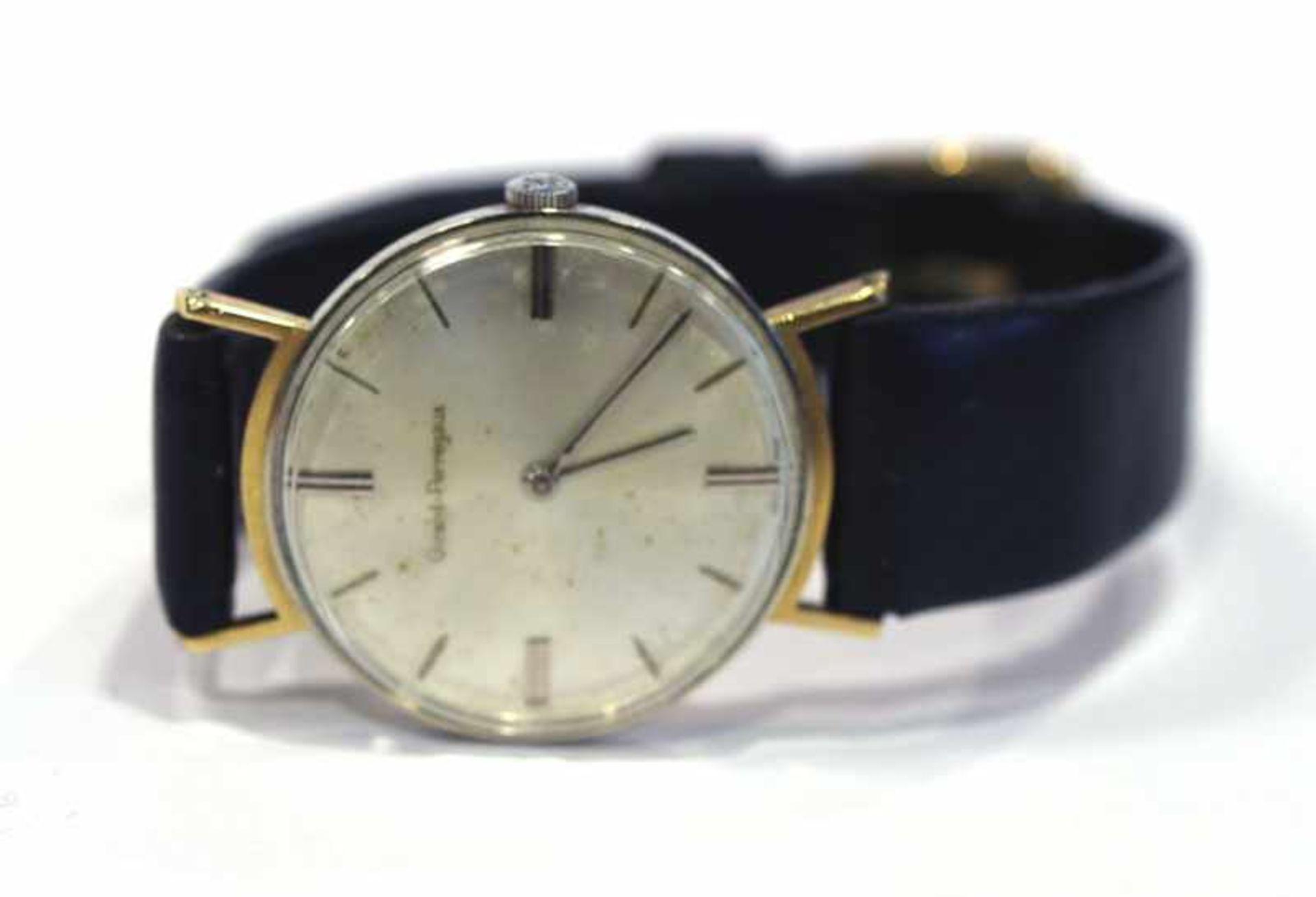 Damen Armbanduhr, Girard-Perregaux, 18 k Gelbgoldgehäuse an schwarzem Lederarmband, intakt,