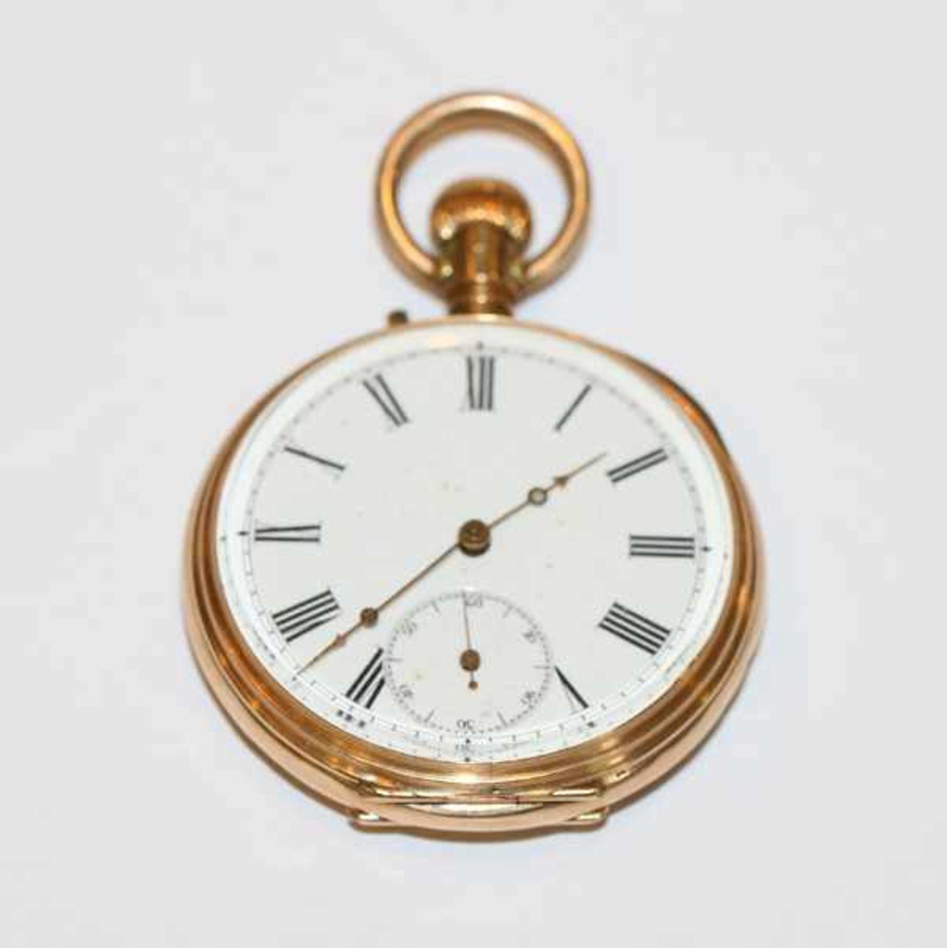 Los 11 - 14 k Gelbgold Herren-Taschenuhr, 2 Deckel aus Gold, intakt, Bruttogewicht 79 gr., D 5 cm,