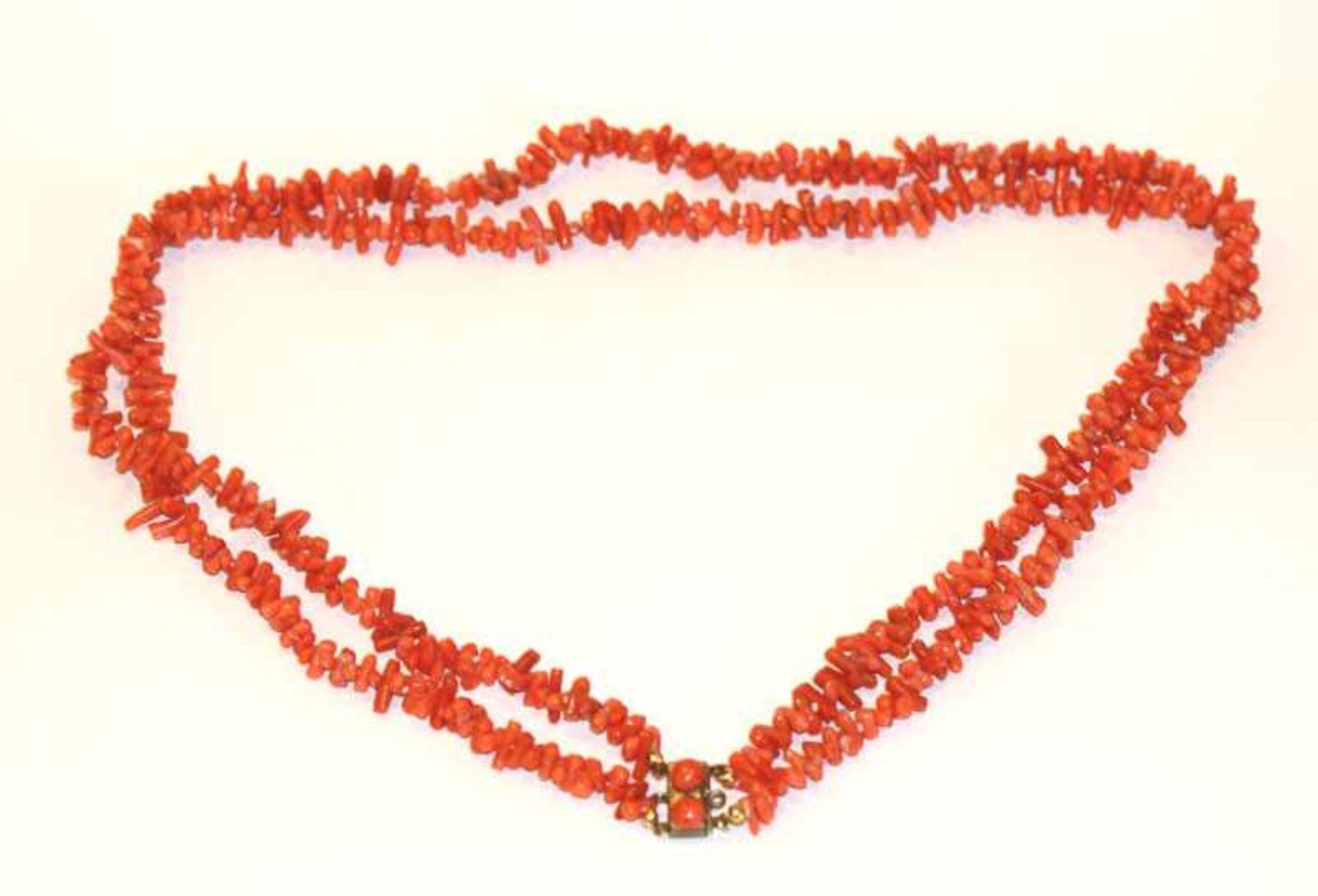 Korallenstäbchen-Kette, 2-reihig mit Doubléschließe, L 58 cm