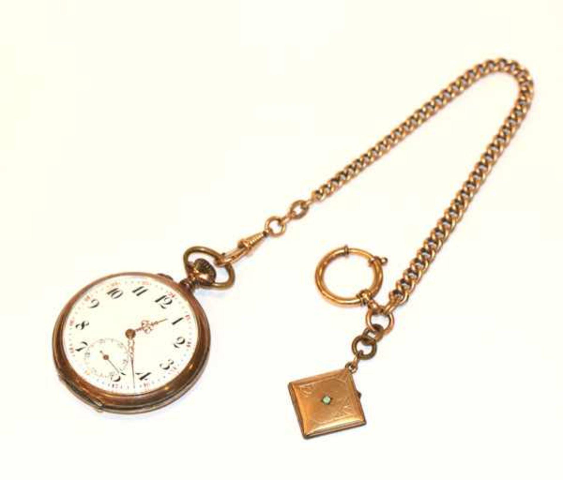 Los 57 - Silber Taschenuhr, intakt, D 5 cm, an Doublé Kette, L 24 cm, mit Medaillonanhänger zum Aufklappen,