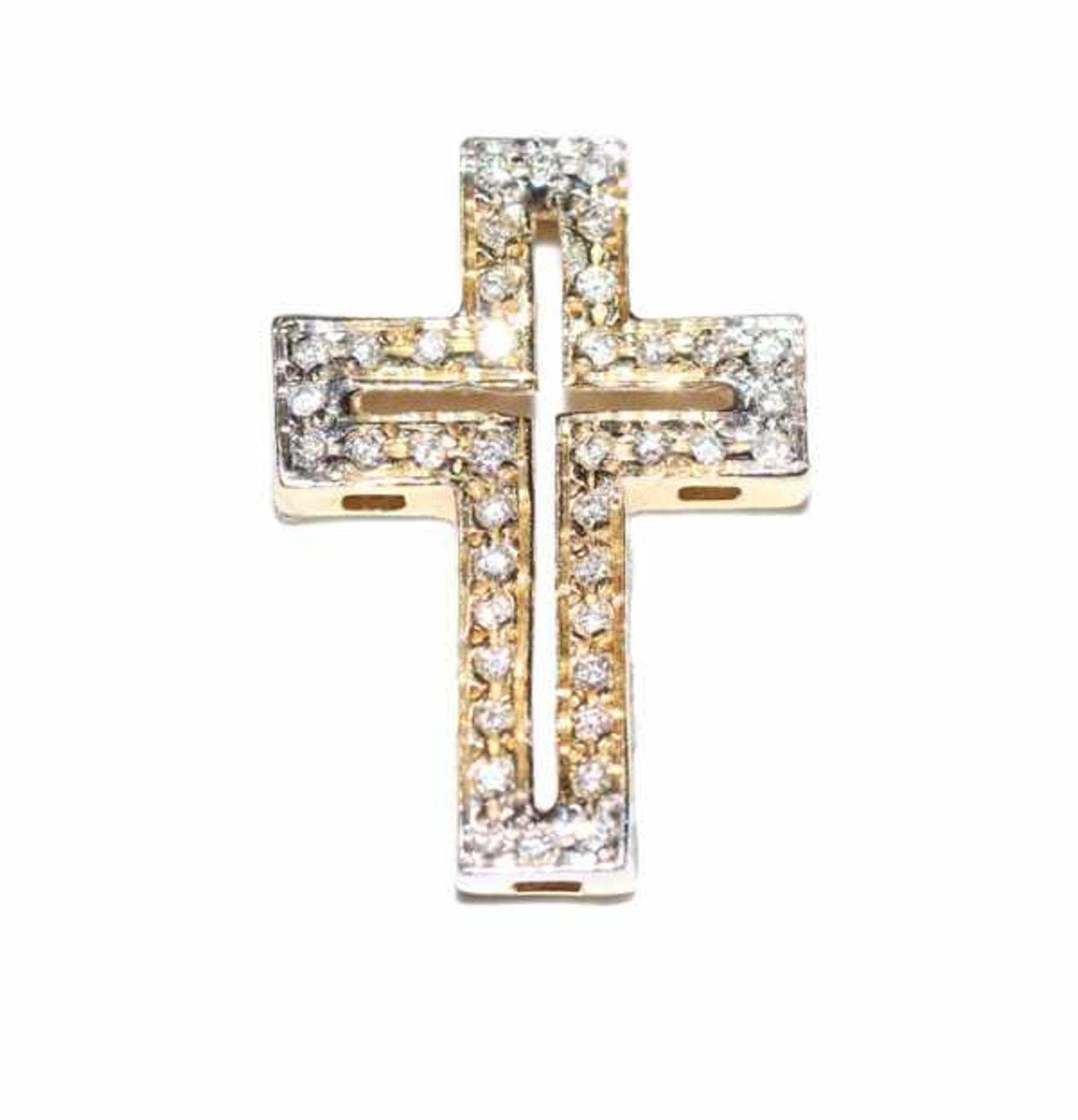 Los 44 - 14 k Gelb- und Weißgold Kreuz-Anhänger mit 42 Diamanten besetzt, L 2 cm