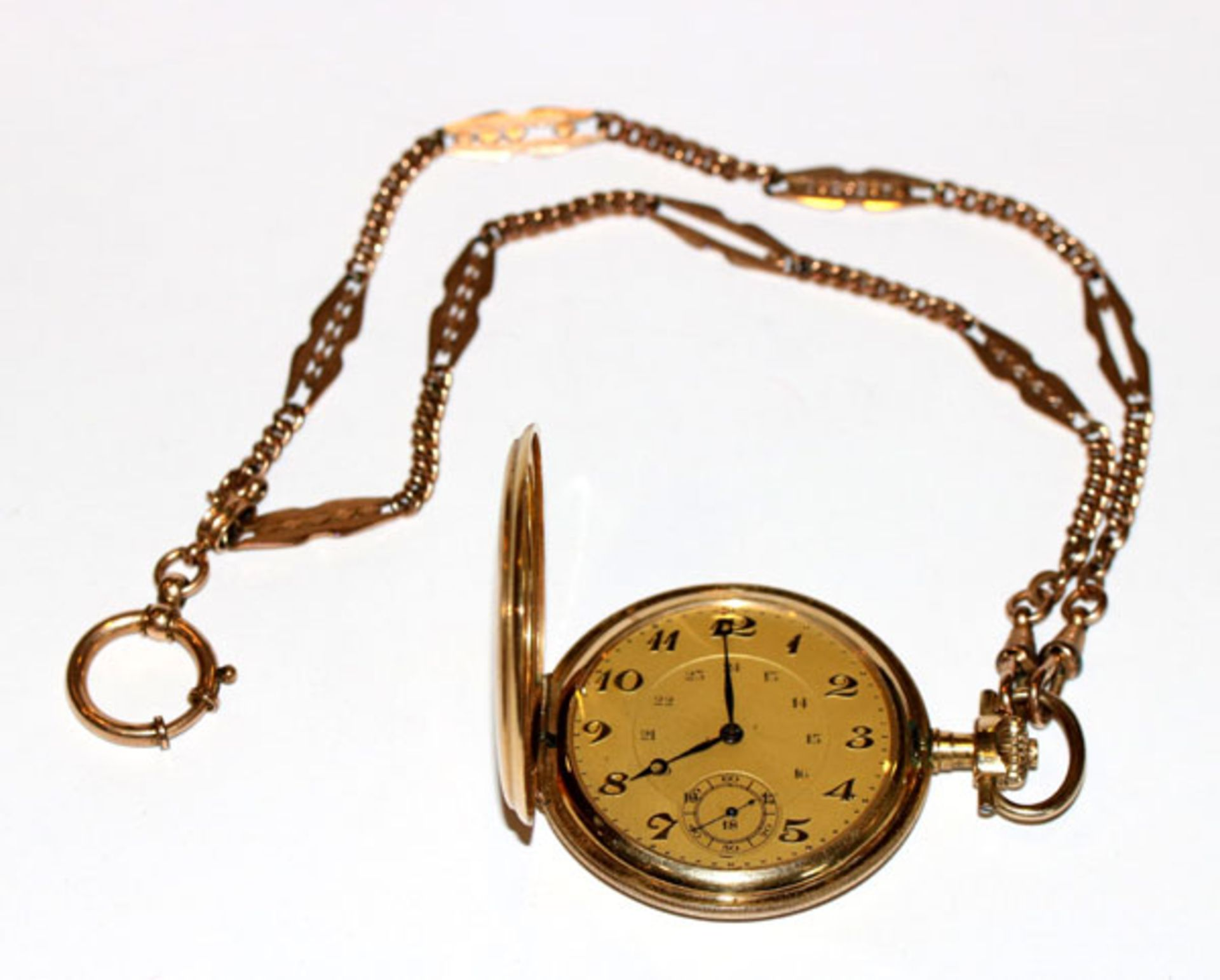 Doublé Sprungdeckel Taschenuhr, gelbes Zifferblatt, D 5 cm, intakt, an Uhrenkette, L 24 cm,