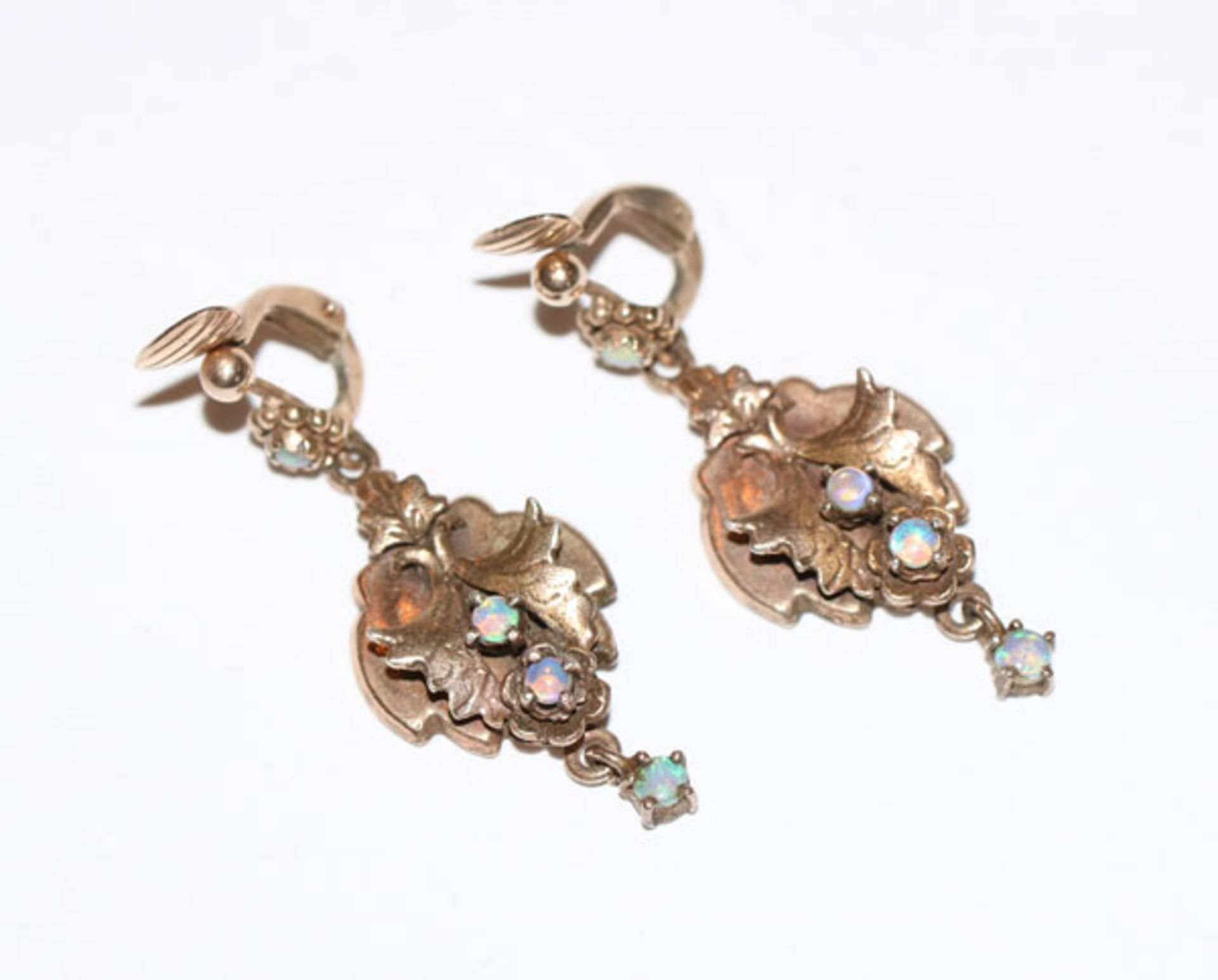 Paar Silber/vergoldete Ohrhänger mit Opalen, schöne Handarbeit, L 4,2 cm