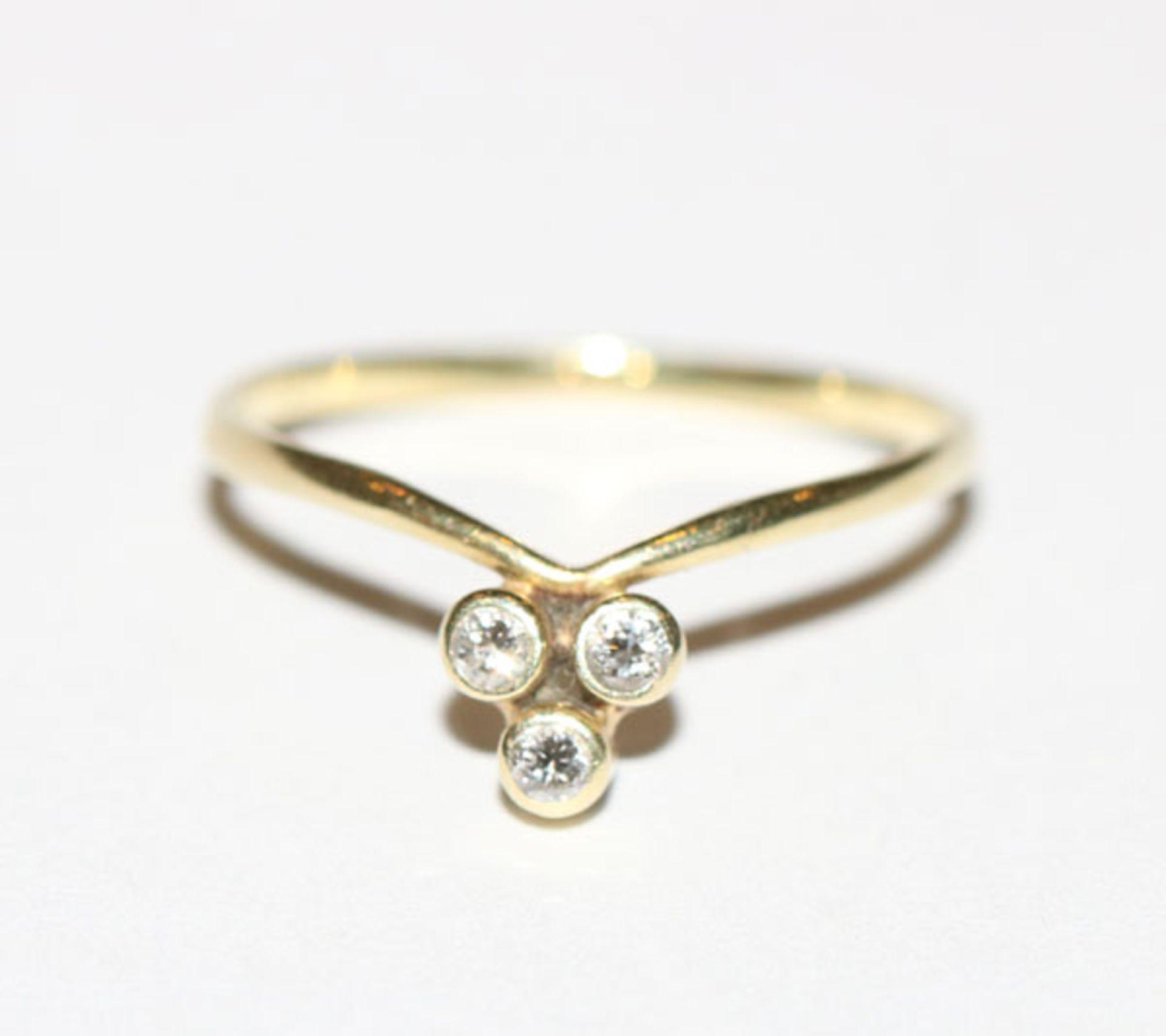 14 k Gelbgold Ring mit 3 Diamanten, Gr. 54