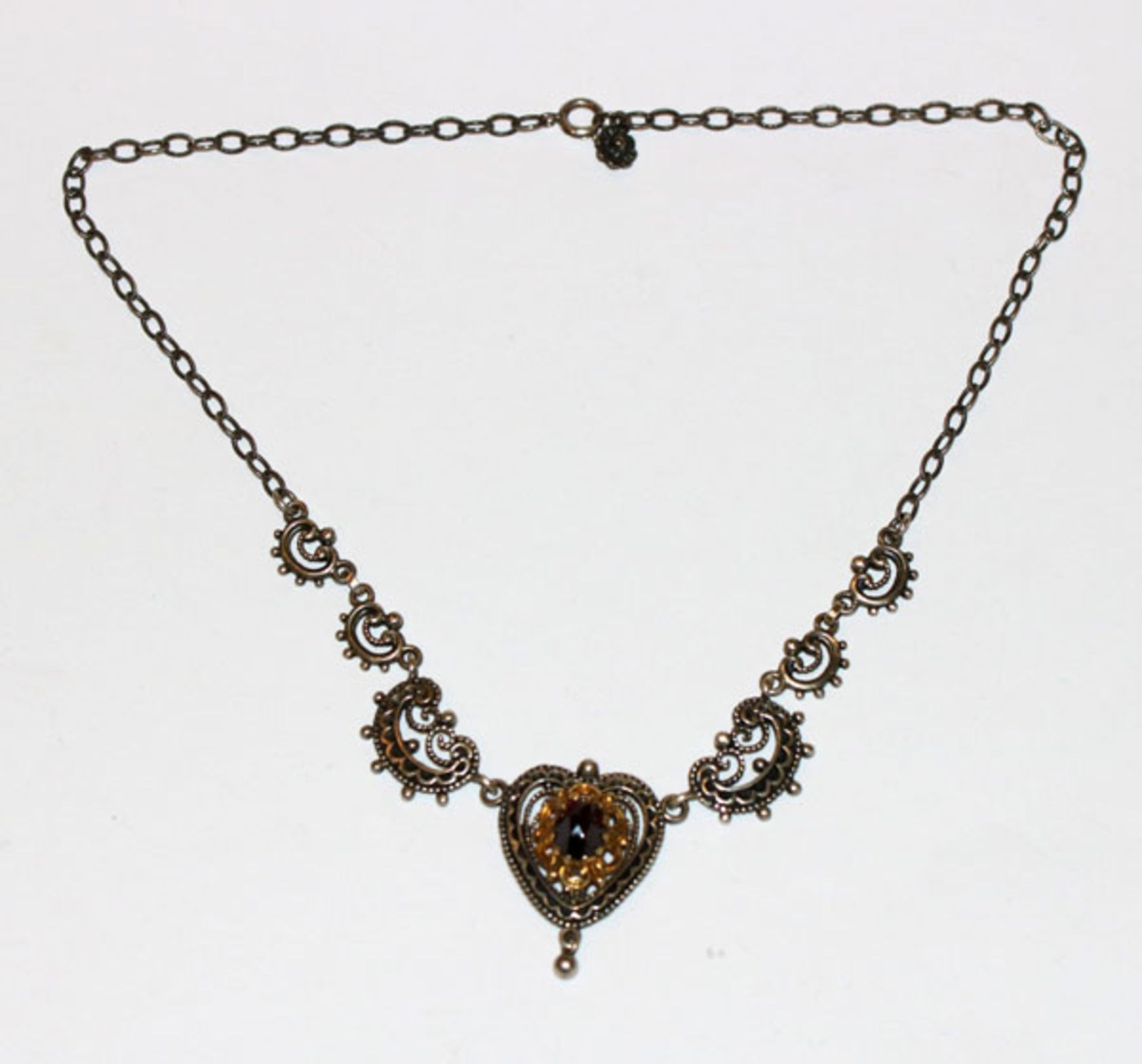 Silber Trachten-Collierkette, teils vergoldet mit Granat, L 40 cm