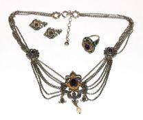 Silber Trachten-Schmuckset: Collier, L 40 cm, Ring, Gr. 57, und Paar Ohrhänger, alles teils