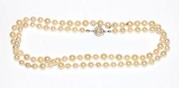 Perlenkette, 6,5/7 mm und 8 k Weißgold-Schließe, L 76 cm