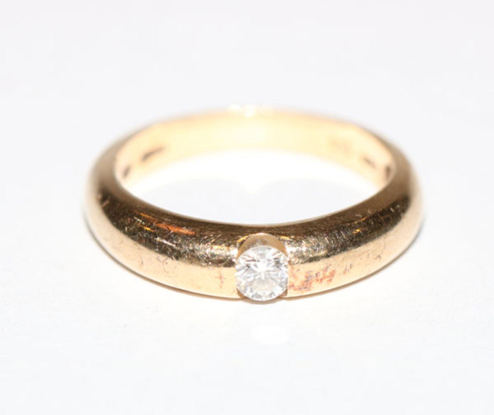 14 k Gelbgold Ring mit Diamant, 0,15 ct. weiss, Gr. 50
