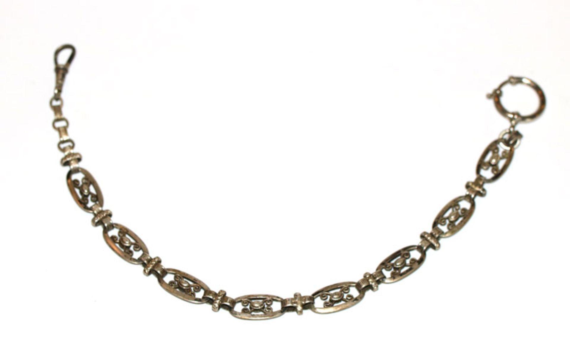 Silber Uhrenkette aus ovalen Gliedern, große Karabiner nicht Silber, L 29 cm