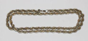 Silber Kette in gedrehter Form, 81 gr., L 74 cm
