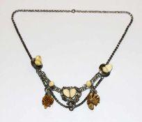 Silber Trachten-Collierkette mit Grandeln und 2 Hirschhornrosen, L 44 cm