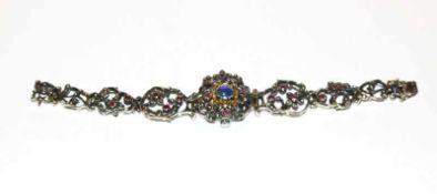 Damen Trachten-Armbanduhr, 835 Silber mit Farbsteinen verziert, Firma Bartel & Sohn, intakt, 42 gr.,