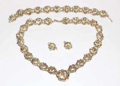 Sterlingsilber Schmuck-Set in plastischem Rosendekor: Collierkette, L 40 cm, Armband, L 19 cm, und