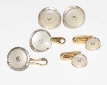 14 k Gelbgold Schmuckset mit Perlmutt und Diamanten: Paar Ohrstecker und 2 Paar Manschettenknöpfe in