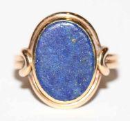 14 k Gelbgold Ring mit Lapislazuli, Gr. 54, Steinoberfläche matt