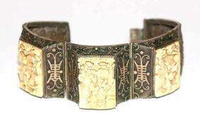 Ausgefallenes asiatisches Silber Armband, teils vergoldet, feine Handarbeit mit 3