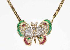 18 k Gelbgold Collierkette, Mittelteil in Form eines Schmetterlings mit Diamanten, Rubinen und