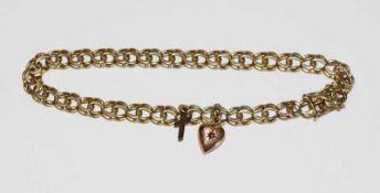 8 k Gelbgold Armband mit Herz- und Kreuzanhänger, 13 gr., L 19 cm