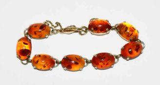 14 k Gelbgold Armband mit Bernstein, L 16 cm, 15,2 gr.