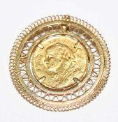 Brosche, 20 Schweizer Franken, 6,45 gr. = 5,8 gr. Feingold, 18 k Gelbgold Fassung, zus. 14 gr., D