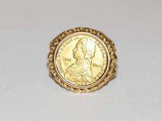 18 k Gelbgold Ring mit Maria Theresia Dukat Replik, Gr. 57, 9,3 gr.
