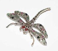 Sterlingsilber Brosche in Form einer Libelle mit Farbsteinen besetzt, B 7 cm