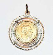 Anhänger, 20 Reichsmark Wilhelm 1875, 8 gr. = 7,2 gr. Feingold, Fassung 18 k Gelbgold, 7 gr. = 5,