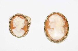 14 k Gelbgold Ring mit Muschelgemme, Damenbildnis, Gr. 52, und passende Brosche/Anhänger, H 2,7