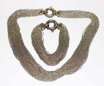 Silber Ketten-Collier, L 40 cm, und passendes Armband, L 16 cm, zus. 129 gr.