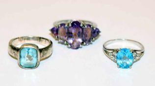 3 Silber Ringe mit verschiedenen Farbsteinen, Gr. 53/55