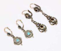 2 Paar Silber Ohrhänger mit vergoldeten oder Goldbügel, L 3,5/4,5 cm