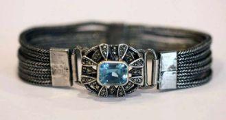 Sterlingsilber Armband, Schließe mit blauem Glasstein und Markasiten, L 17 cm, Tragespuren
