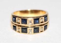 18 k Gelbgold Ring mit 8 Baguett Safiren und 6 Diamanten, 12 gr., Gr. 59