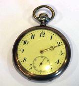 Silber Taschenuhr, rückseitig fein graviert, intakt, D 5 cm