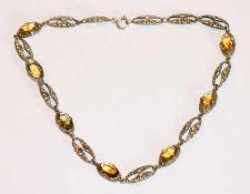 Silber Kette mit reliefierten Gliedern und Citrinen ?, L 35 cm