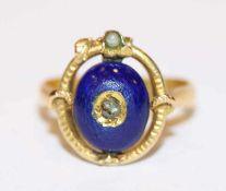 18 k (geprüft) Gelbgold Ring mit dunkelblauem Glas, Gr. 51, Alters- und Tragespuren