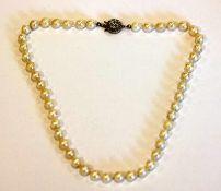 Perlenkette mit Silberschließe, L 38 cm